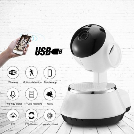 Wireless WiFi USB Baby Monitor Alarm Home Security IP Camera HD 720P US Plug White