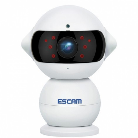 ESCAM QF200 960P Mini Robot 1.3MP WiFi 360 Degree Rotation AP IR IP Camera with Night Vision Alarm Function Two Way Audio US Plug White