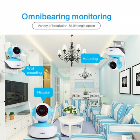 LOOSAFE 960P HD IP Camera WIFI Wireless Onvif Camera Security Home Video Surveillance 1MP Surveillance Camera UK Plug White & Blue & Black