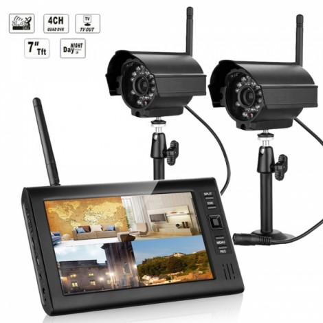 """SY602E12 7"""" TFT LCD 4CH DVR Wireless Security System with 2pcs IR Cameras US Standard Plug"""