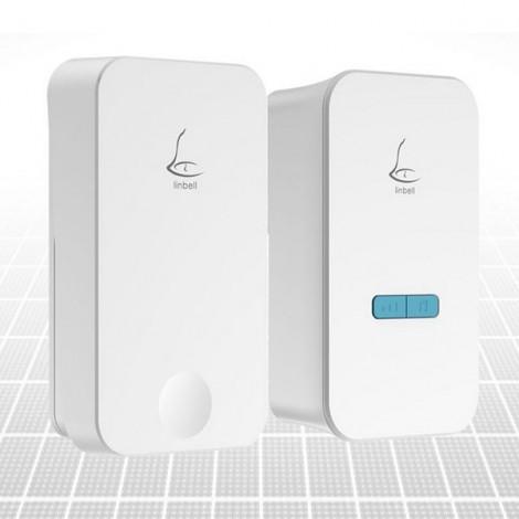 Linbell G4 Wireless Doorbell No Battery Waterproof Automatic Generation Intelligent Pairing Doorbell White US Plug
