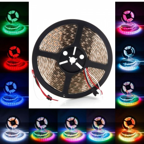 5M Waterproof RGB 300-LED 5050SMD Flexible Light Strip with Bobbin Winder White PCB