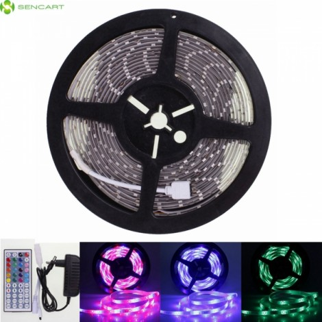 Waterproof 5M 16.4ft RGB 300x5630 SMD LED Flexible LED Light Strip with 44 Keys RF Remote Controller US Plug