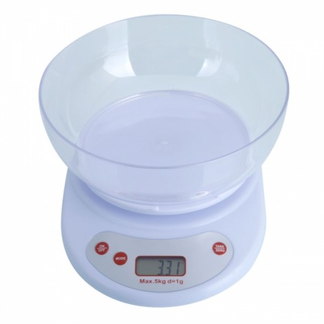 Digital Food Scale and Multifunction Kitchen Weight Scale with Removable Bowl 5KG/1G White
