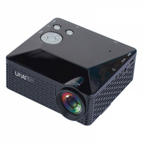 Uhappy U18 500lm 320x240px Home Theater Mini Projector with Remote Control (Support HDMI / USB / SD / AV / VGA) Black