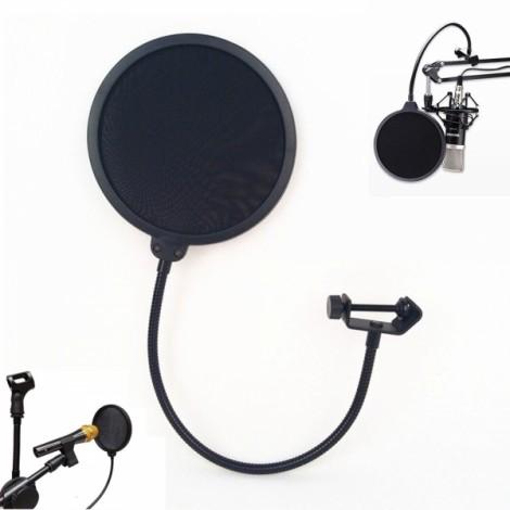 New Studio Microphone Mic Windscreen Pop Filter Mask Shield Black