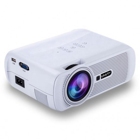 Uhappy U80 Full HD 1080P Home Theater Mini Portable Projector for Video Games TV Movie White