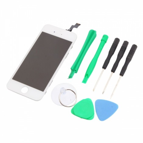 LCD Touch Screen Bezel Frame Assembly Standard for iPhone 5S with Tools Set White