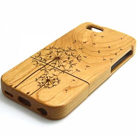 ZY-203 Dandelion Pattern Detachable Wooden Protective Back Case for iPhone 5C Wood