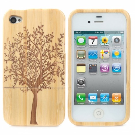 Retro Tree Pattern Protective Wooden Back Case for iPhone 4/4S Yellow & Brown