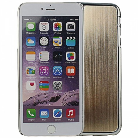 "Wire Drawing Titanium Alloy Back Protective Case for 5.5"" iPhone 6 Plus/6S Plus Golden"