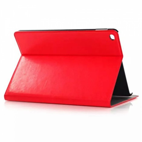 PU Leather Protective Case with Stand & Card / Money Slot & Auto Sleep for iPad Air 2 Red