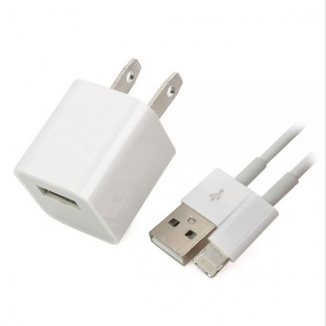 AC Power Adapter + USB 8-Pin Lightning Data Charging Cable for iPhone 7/6/5 White (US Plug)
