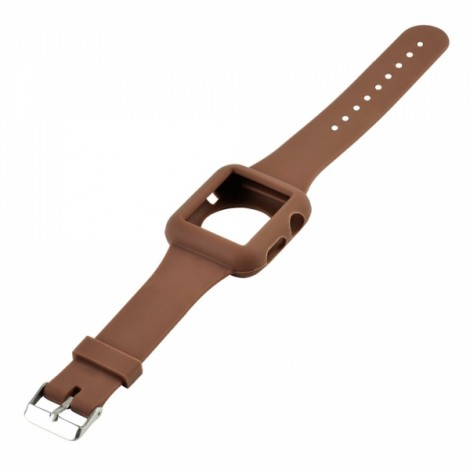 Sleek Silicone Sport Strap Watchband for Apple Watch 38mm Coffee
