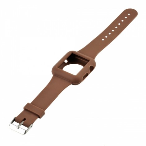 Sleek Silicone Sport Strap Watchband for Apple Watch 42mm Coffee