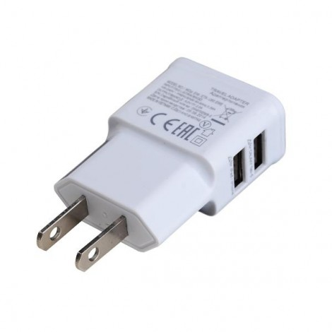 2A Dual USB Interfaces Charger Adapter for iPhone/iPad/iPod White (US Plug)