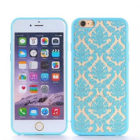 Retro Engraved Pattern Matte TPU & PC Back Case Cover for iPhone 6 Plus / 6S Plus Blue