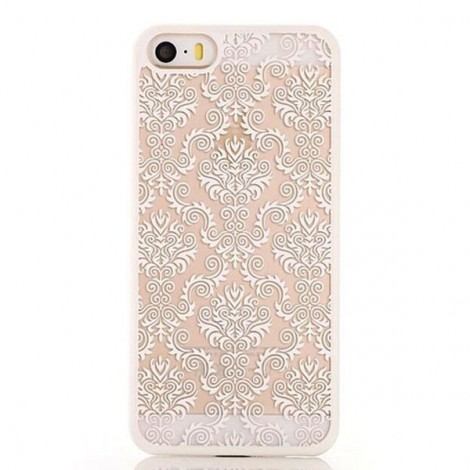 Retro Engraved Pattern Matte TPU & PC Back Case Cover for iPhone 6 Plus / 6S Plus White