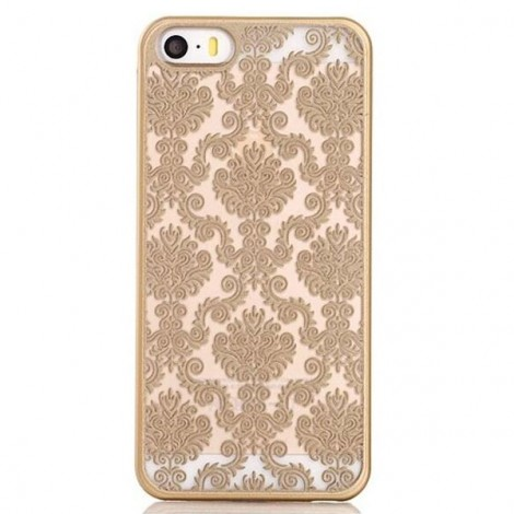 Retro Engraved Pattern Matte TPU & PC Back Case Cover for iPhone 6 Plus / 6S Plus Golden