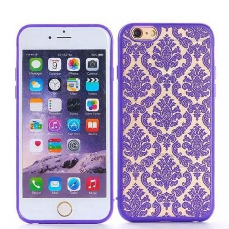 Retro Engraved Pattern Matte TPU & PC Back Case Cover for iPhone 6 Plus / 6S Plus Purple