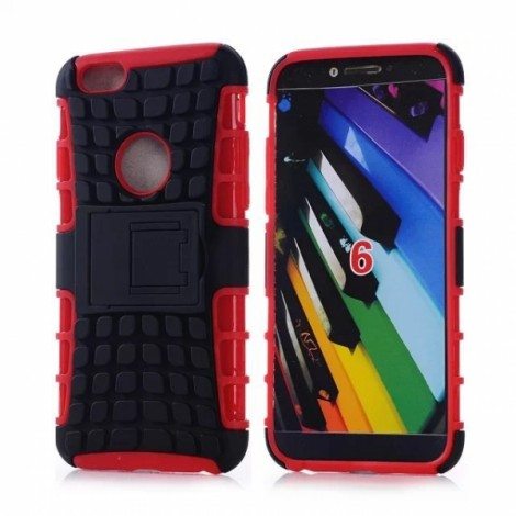"""Unique Tire Texture Silicone & PC Back Cover Holder for iPhone 6/6S 4.7"""" Red"""