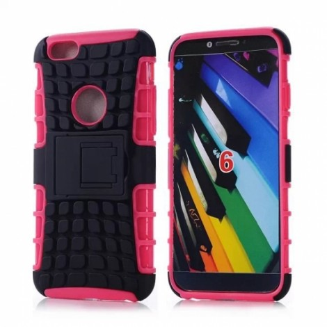 """Unique Tire Texture Silicone & PC Back Cover Holder for iPhone 6/6S 4.7"""" Rose Red"""
