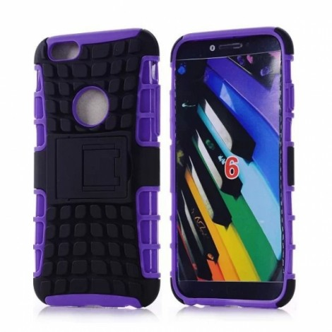"Unique Tire Texture Silicone & PC Back Cover Holder for iPhone 6/6S 4.7"" Purple"
