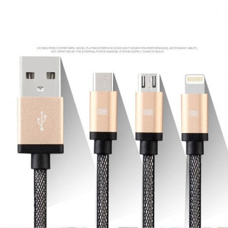 1.2M Earldom ET-877 Braided USB Data Charge Cable with 8pin & Dual Micro USB Golden