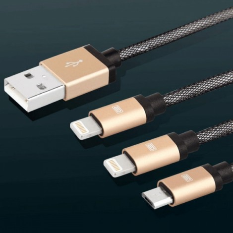 Earldom ET-867 3-in-1 USB Data Sync Charge Cable with Dual 8pin Adapters & Micro USB Connectors Golden