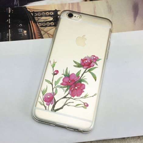 Embossed Pattern Rhinestone Clear Soft TPU Case for iPhone6/6S