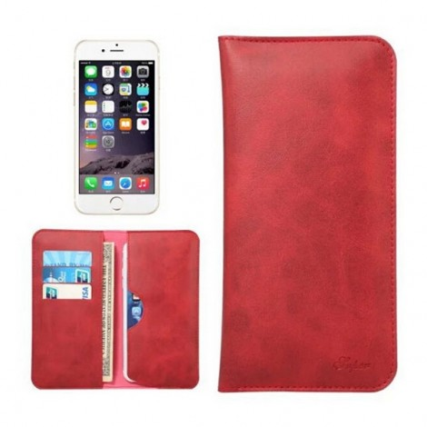 """Dual Pockets Business Leather Clutch Bag Style Card Holder Phone Case for iPhone7 or Cellphones Below 5.5"""" Red"""