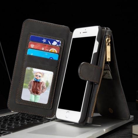 Multi-slot Retro Split Zipper Leather Wallet Card Holder Phone Case for iPhone7 Plus Black