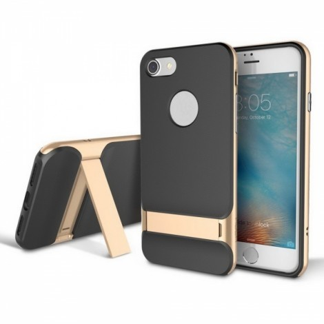 Rock Royce Series TPU PC Dual Protection Slim Back Cover Case with Kickstand for iPhone7 Plus Golden
