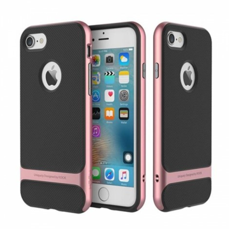 ROCK Royce Ultra-slim Hybrid Shockproof TPU PC Dual Protection Back Case Cover Bumper for iPhone7 Rose Golden