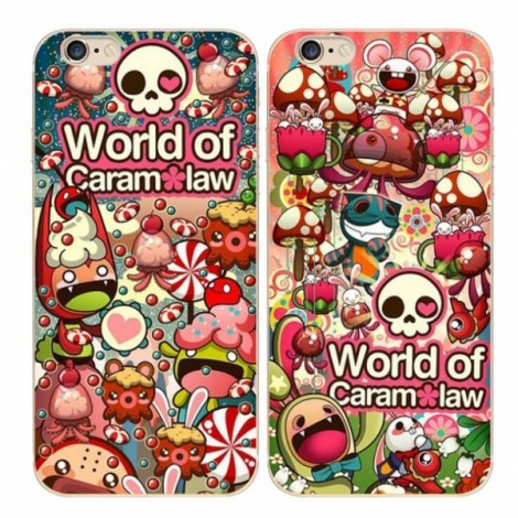 "Slim Soft TPU Skeleton Colorful Protective Back Case Cover for 5.5"" Apple iPhone 7 Plus 1#"