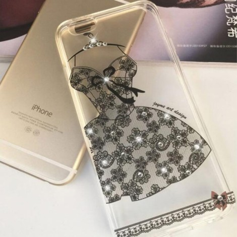 "Creative Sexy Black Lace Dress Pattern Design Rhinestone Soft TPU Protective Back Case Cover for 4.7"" Apple iPhone 7"