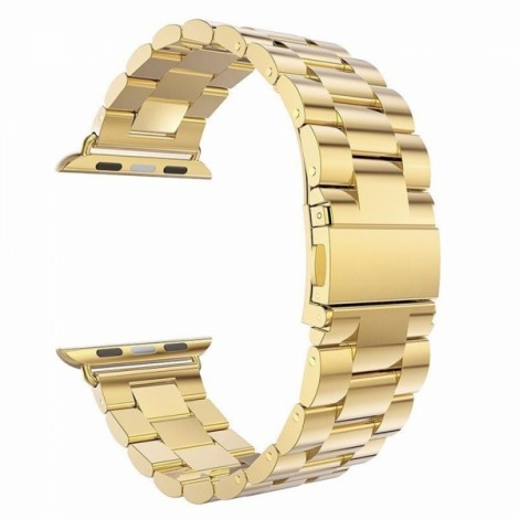 Stainless Steel Watchband with Connector for Apple iWatch Sports Edition 42mm Golden