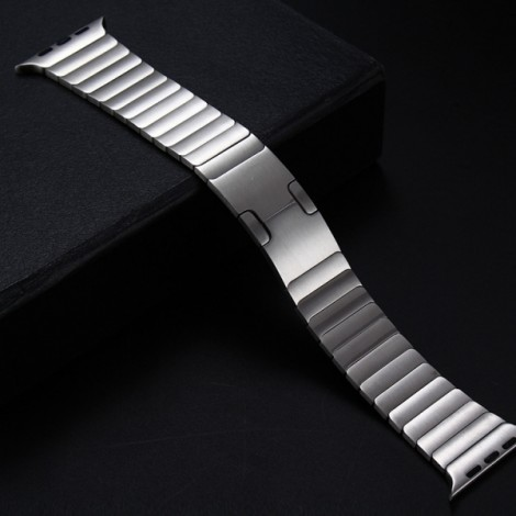 Stainless Steel Bracelet Watchband with Butterfly Closure for Apple Watch 38mm Silver