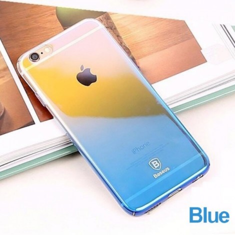 Baseus Ultra-thin Clear Gradient Color Hard PC Back Cover Phone Case for iPhone 6 Plus Blue