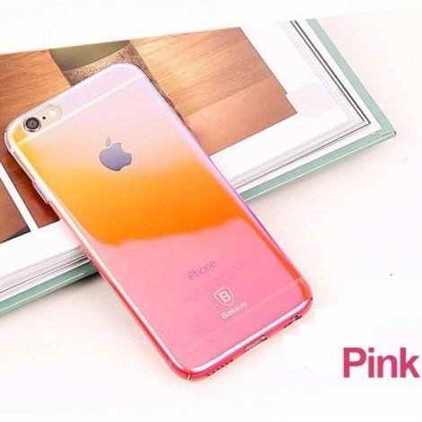 Baseus Ultra-thin Clear Gradient Color Hard PC Back Cover Phone Case for iPhone 6 Plus Pink