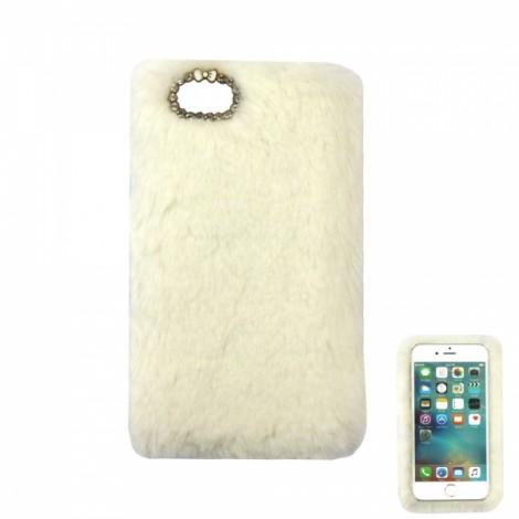 "Ultra Slim Rabbit Hair Rhinestone Back Case for 4.7"" iPhone 7 White"