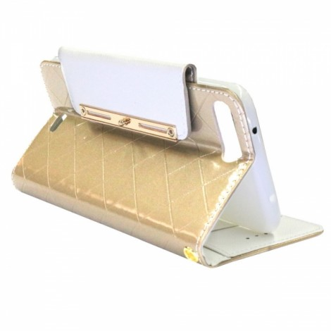 Purse Type Flip Cover PU Leather Phone Case for iPhone 6 Plus/6S Plus Golden