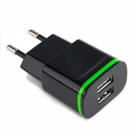 Cwxuan 5V 2.1A Universal AC Adapter Charger with Dual USB Outputs EU Standard Plug Black