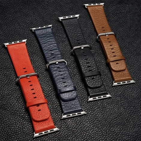 Genuine Leather Watchband Replacement Watch Strap for Apple Watch 38mm Black