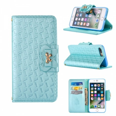Embossed with a Butterfly Buckle Combo Holster Leather Case for iPhone 7 Blue