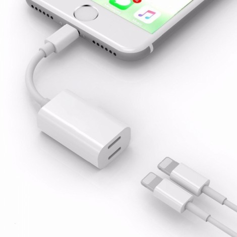 Audio Headphone Charging Dual Lighting Adapter Cable for iPhone X 7 8 Plus White