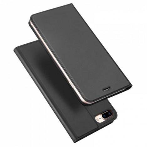 DUX DUICS Magnetic Flip Card Slot Bracket PU Leather Case for iPhone 8 Plus/7 Plus - Gray