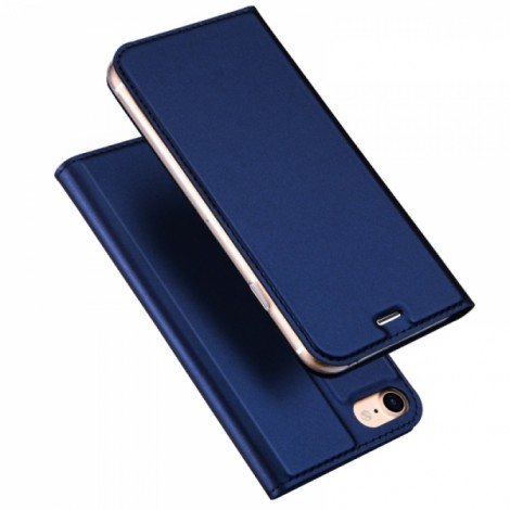 DUX DUICS Magnetic Flip Card Slot Bracket PU Leather Case for iPhone 8/7 - Blue