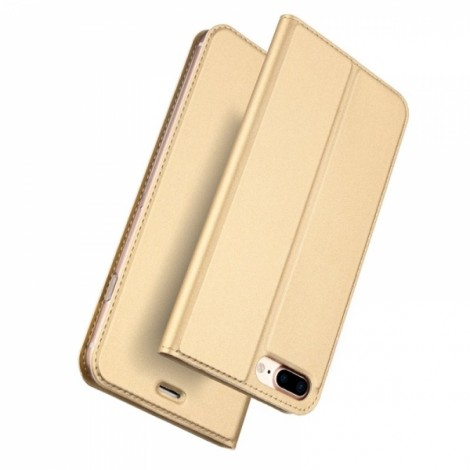 DUX DUICS Magnetic Flip Card Slot Bracket PU Leather Case for iPhone 8 Plus/7 Plus - Gold