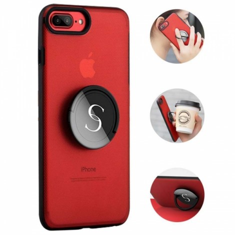 Creative Gyro Spinner Ring Holder Kickstand Phone Case for iPhone 7 Plus - Red